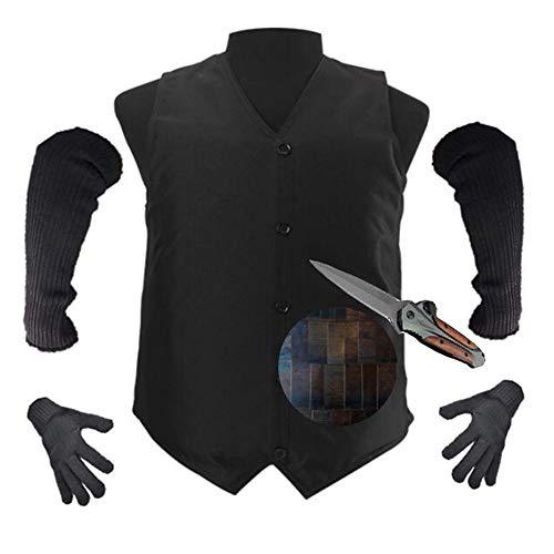 Stichschutzkleidung Adjustable Fischschuppen Liner Tactical Vest-Messer-Beweis-Weste Erwachsene Für Männer Frauen Brustschutz (Enthalten Handschuhe, Arm Sleeve)