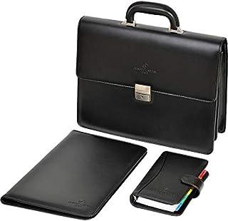 RENATO LANDINI Black Leather Bag, A4 Folder, A6 Organizer Set/Global/R1072LA