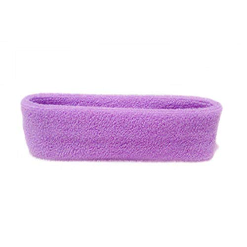 Huguo Banda de Pelo Ancha Ajustable Yoga SPA Bañera Ducha Maquillaje Lavar Cara Diadema cosmética para Las Mujeres señoras Maquillaje Accesorios Purple