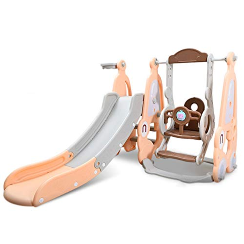 TOTAMALA U.S. Shipping - 4 in 1 Baby Slide and Swing Set with Music Outdoor Playset Playground Kids Slide - Toddler Indoor Climber Swing Combination Playground Active Center Toys for Boys & Girls