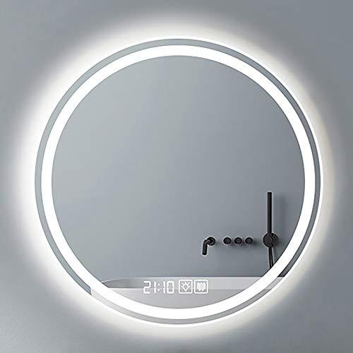 GETZ Espejo Redondo Decorativos, Espejo de Baño Redondo con Iluminación LED, Espejo de Tocador de Pared con Interruptor Táctil y 3 Colores de Luz, Brillo Ajustable, IP44 a Prueba de Agua