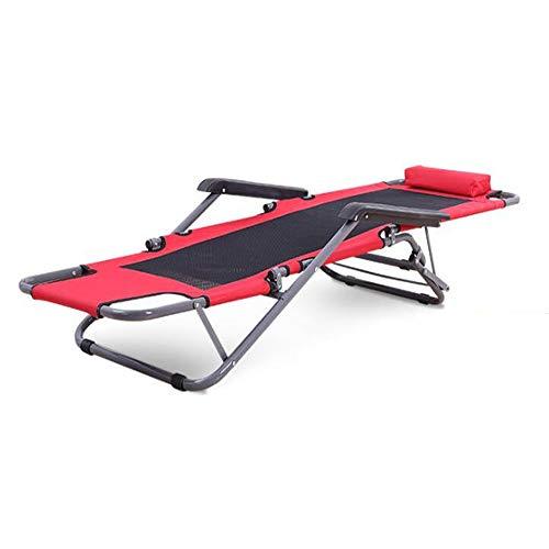 WXH Poltrona reclinabile Regolabile con poggiatesta, Ampia Serratura a gravità per braccioli, Materiale di Alta qualità Design Confortevole, per Piscina all\'aperto,Red,L