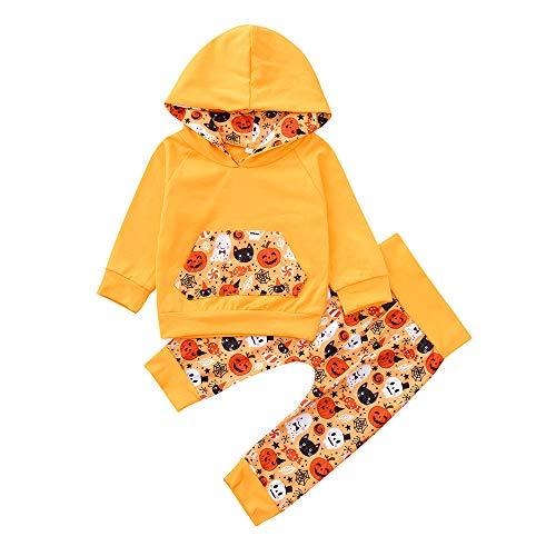 Kobay Kobay Infant Baby Jungen Mädchen Cartoon Kapuzen Tops + Hosen Halloween Kostüm Set(3-6M,Orange)