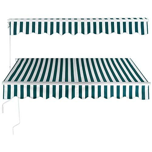 COSTWAY Tenda da Sole Manuale Avvolgibile, Tettuccio Parasolo Ideale per Giardino e Balcone, Misura 250 x 200-300 cm (Verde-Bianco, 250 x 300cm)