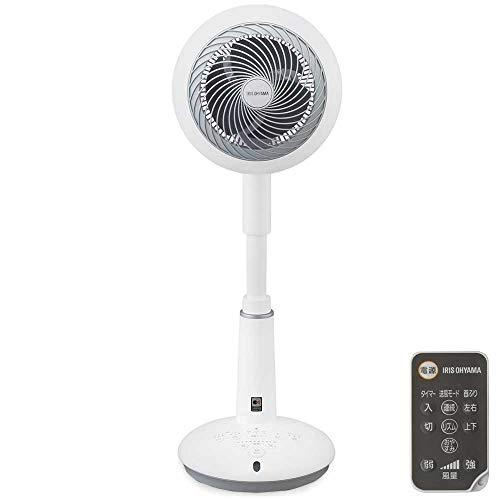 アイリスオーヤマ サーキュレーター 音声操作 扇風機 上下左右首振り 24畳 パワフル送風 DCモーター リモコン付き ホワイト STF-DCV15T