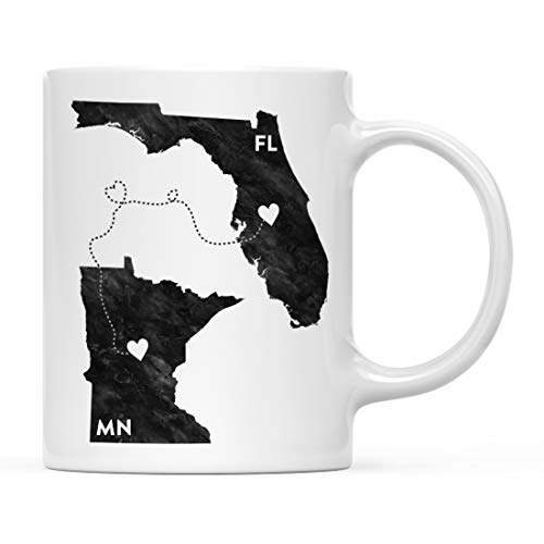 Andaz Press 11oz. Coffee Mug Long Distance Gift, Florida and Minnesota, Black and White Modern, 1-Pack, Moving Away Graduation University College Gifts for Him Her Relationships