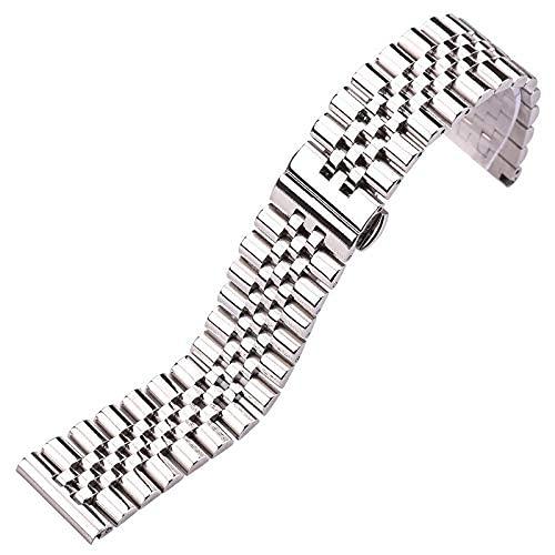 REDCVBN Correa de Reloj Correa de Reloj Pulsera Plata Acero Inoxidable Pulido Accesorios de Reloj 16 18 19 20 21 Correa de muñeca de Metal sólido de 22 mm (Color: Plata, Tamaño: 19 mm)