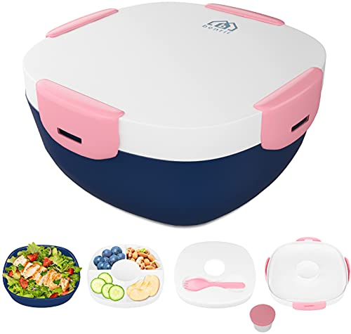 BENRII Adult Bento Box- [Ice Pack for Lunch Box] - Bento Lunch Box - Salad container/ Meal Prep Containers Reusable with 4-Compartments Tray, Spork, Dressing container, Bento Box Adult & Kids (Pink)