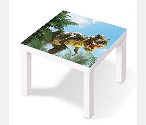 Möbelaufkleber für Ikea Lack Tisch 55x55cm Kinderzimmer cartoon T-Rex Dino böse Kat2 Dschungel Drache LT1 Aufkleber Klebefolie Möbelfolie Folie (Ohne Möbel) 25W2646