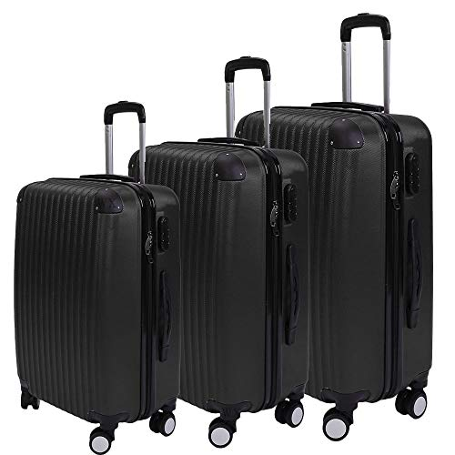 3 Pcs Fashion Luggage Suitcase Set, Lightweight ABS Hard Shell Suitcase Trolley Large with 4 Wheels (Black)