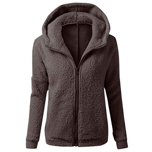 DNOQN Wollstrickjacken Rollkragenpullover Fellmantel Lackmantel Damen Mit Kapuze Sweatshirt Mantel Winter Warm Wolle Reißverschluss Mantel Baumwolle Mantel Outwear