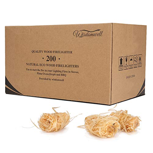 WISDOMWELL Wood Firelighters – 200pcs in The Box, BBQ's, Pizza Ovens & Smokers, Safe Charcoal Starter for Lighting A…