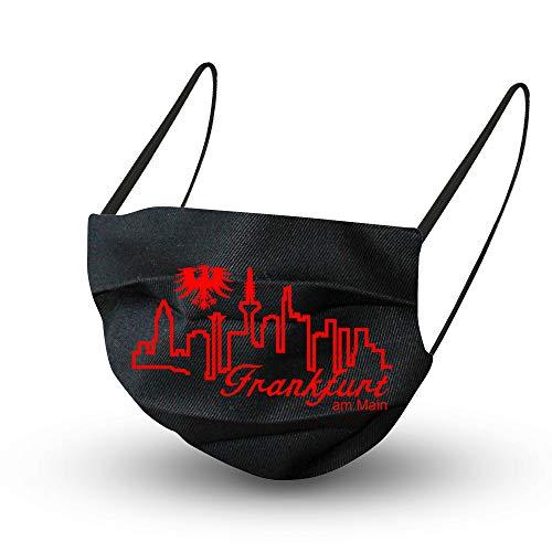 Fan-Omenal Textil Design Maske in Schwarz aus Baumwolle mit zertifiziertem Innenvlies - Skyline Frankfurt - 15652