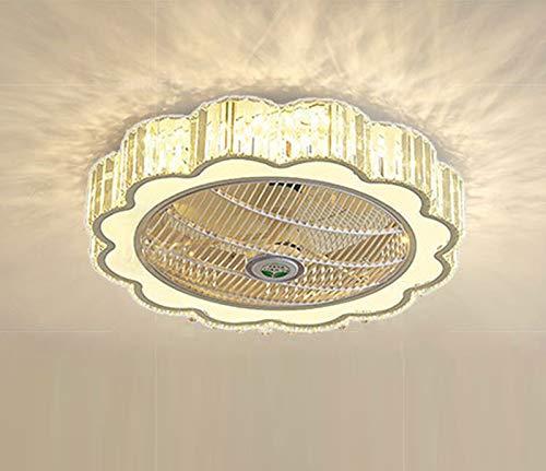 Restaurante habitación infantil dormitorio ventilador plafón LED 50w con mando a distancia regulable y volumen de aire Ø60x20cm simple 3200-6500k salón cristal lámpara