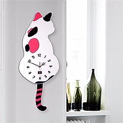VariousWallClock Wall clock household pendulum clocks Cartoon cat swing tail mute home living room bedroom minimalist wall charts white