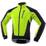 Chaqueta Ciclismo Hombre Invierno Polar Térmico, Impermeable Prueba de Viento Bicicleta Jackets Reflectante Alta Visibilidad Cortavientos,Verde,L
