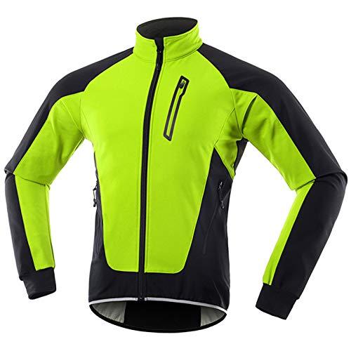 Chaqueta Ciclismo Hombre Invierno Polar Térmico, Impermeable Prueba de Viento Bicicleta Jackets Reflectante Alta Visibilidad Cortavientos,Verde,M