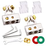 Tnisesm 1 Pair Car Battery Terminal Connectors Kit, 2/4/8/10 Gauge, Heavy Duty Top Post AMP Car Positive Negative Battery Ends with Shims, Clear Covers, Special Tools, Anti Corrosion Washers DPN-8G