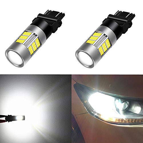 Alla Lighting 54-SMD 3156 3157 LED Turn Signal Light Bulbs High Power 4014 48-SMD LED 3157 Bulb 6000K Xenon White 3156 3157 LED Bulb Super Bright LED 4157 3457 3157 Blinker Light(Set of 2)