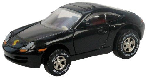 Darda 50309 Auto Porsche 911, Rennauto mit auswechselbaren Rückzugsmotor, Fahrzeug mit Aufziehmotor, Rückziehauto für Rennbahnen, Rennwagen für Kinder ab 5 Jahre, ca. 7,7 cm, schwarz