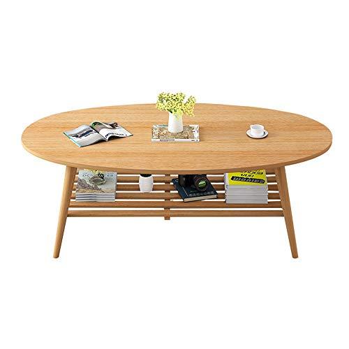 Table XIAOYAN Basse Nordique en Bois Massif avec étagères à 2 Niveaux Petite à thé Ovale de Bureau 3 Couleurs 100X50X43cm (Couleur : A)