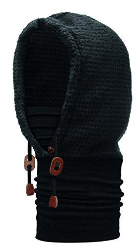 Buff Polar Thermal Hoodie Schlauchschal, Solid Black, One Size
