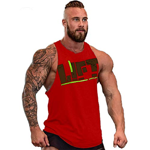 Camisetas Elástica de Fitness sin Mangas Tank Top Gym para Hombre (Rojo-2, M)