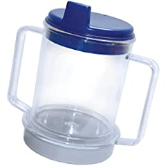 """This Weighted Two Handle Clear Mug with Lid measures 5 1/2"""" tall with a 3 1/4"""" diameter. The handles extend an additional 1 1/4"""" out and are 3"""" long Includes a weighted base, two handles, and secure fitting lid with drinking spout Holds up to 10 ounc..."""