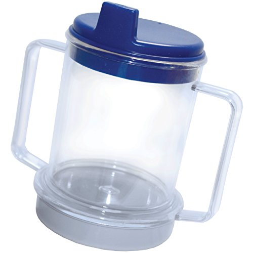Rehabilitation Advantage Clear Spouted Cup with Two Handles, Weighted, 1 Count