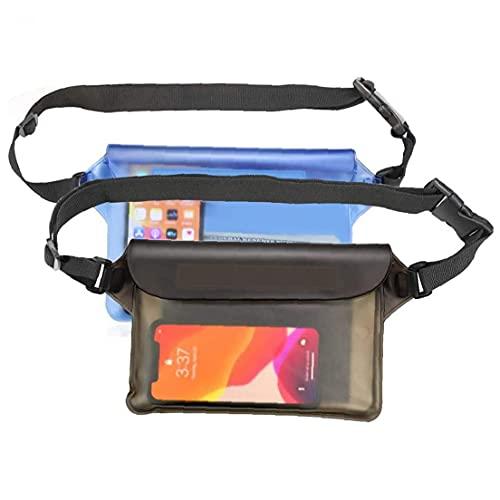 EElabper Pantalla táctil Bolsa Bolsa Impermeable Bolsas secas Transparentes con cinturón Ajustable para navegar en Kayak Beach Pool Deriva Barco Azul Gris 2 Piezas