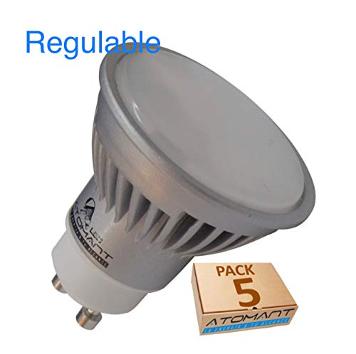 Pack 5x GU10 Led 7w REGULABLE. Color Blanco Calido (3000K). 680 Lumenes. Angulo 120 grados. A++