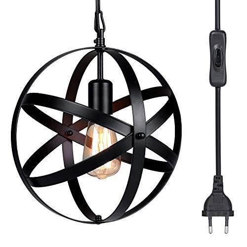 Lámpara Techo Colgantes Vintage, Tomshine Globe Lámpara Colgante Retro de Hierro Forjado,E27 Base de la Bombilla,Lámpara Techo Industrial para Cocina Restaurante,Ø300mm(Sin Bombilla)