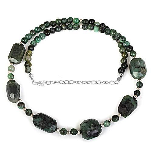 Collar de cuentas de esmeralda de 45 cm, collar de cuentas redondas de esmeralda natural, collar de cuentas de piedras preciosas