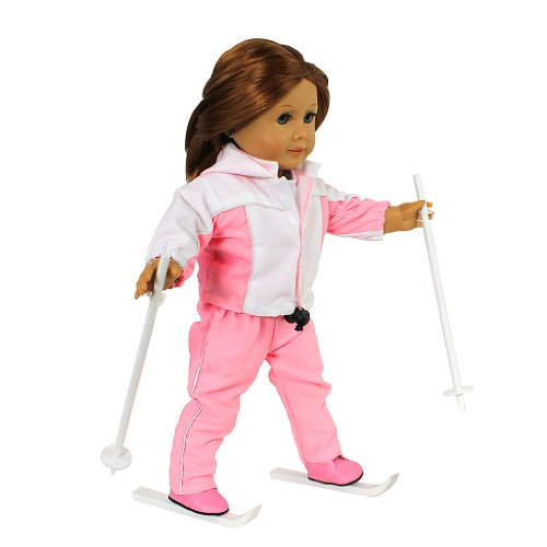 Winter Skiing Doll Clothes for American Girl & 18' Dolls - 6 Piece Snow Clothes Set Includes Shirt, Pants, Jacket, Boots, Poles, & Skis
