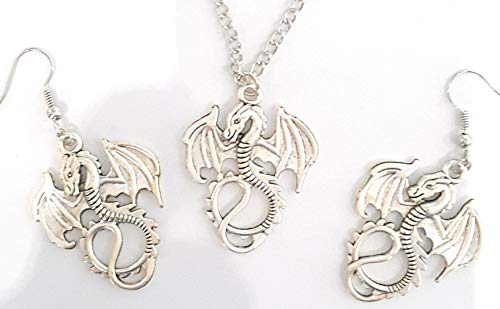 feeën en wonderen beeldje draak draak – draak – ketting en oorbel set
