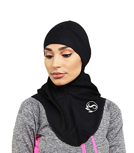 SAFIYA - Hijab Sport running für Damen I Kopftuch Frauen Sport-Schal anzug kleid Schleier Turban Pashmina I Cardio Fitness I Schwarz