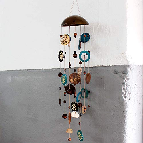 mitienda mit Liebe gemacht Windspiel, Kokosnuss türkis-Natur, Geschenkidee, Mobile, Klangspiel, Handmade, Fensterdeko, Deko Sommer Winter