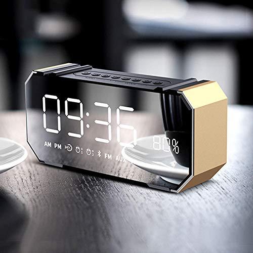 FPRW Led digitale wekker, pratende Bluetooth multifunctionele elektronische nachtkastje, audio desktop niet tikken klokken, gouden