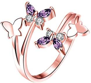 Silver Rose Gold Butterfly Ring Opening Adjustable Silver Plated CZ Crystal Butterfly Ring for product image