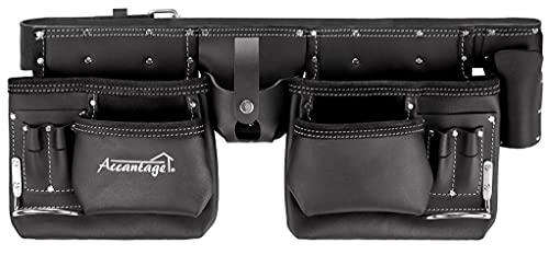 Leather Tool Belts for Men Carpenter Pro One Construction Belts for Men, Real Oil Tanned Work Belt, 2x Leather Tool Pouch 12 Pockets, Leather Carpenter Tool Belt for Men, Leather Tool Kit by ACCANTAGE