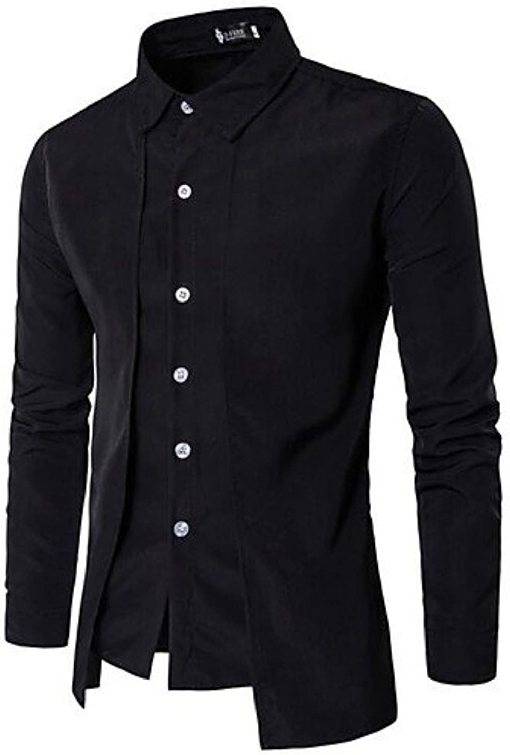 HAN-NMC Men'S Casual Daily Simple Spring Fall Shirt,Solid Square Neck Long Sleeves Cotton Opaque,M,Black