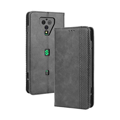 LAGUI Kompatible für Xiaomi Black Shark 3 Pro Hülle, Leder Flip Hülle Schutzhülle für Handy mit Kartenfach Stand & Magnet Funktion als Brieftasche, schwarz