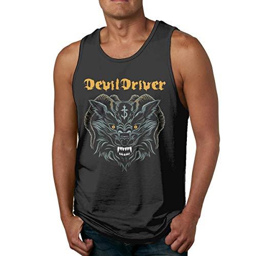 DJNGN Camisetas de algodón para Hombre Gym Fitness Singlet Vest Devildriver Logo Camiseta sin Mangas sin Mangas