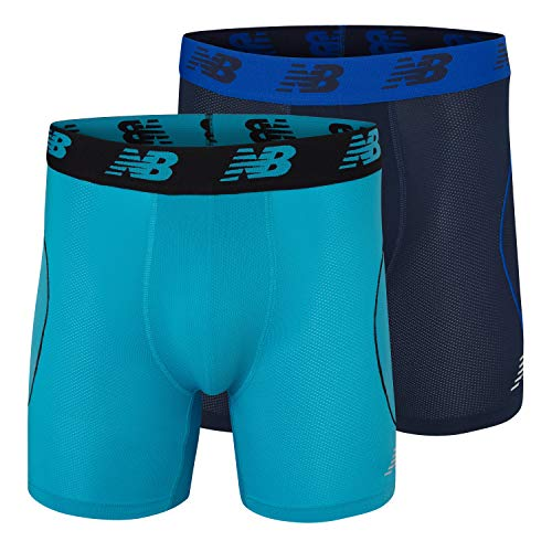 New Balance Men's Mesh Air Cool 6' Boxer Brief, No Fly, with Pouch (Pack of 2), Pigment/Cadet, Small (29-31')