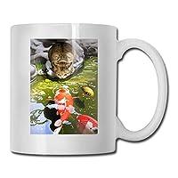 猫と金魚 マグカップ セラミック コーヒーマグ おしゃれ かわいい ティーカップ 耐熱 撥水 ホワイト 330ML