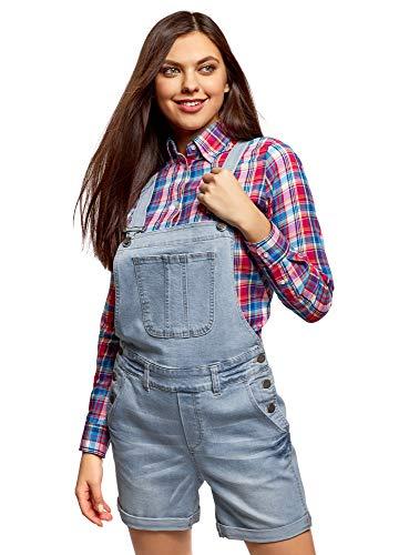 oodji Ultra Damen Kurze Jeans-Latzhose mit Zierknöpfen, Blau, DE 34 / EU 36 / XS