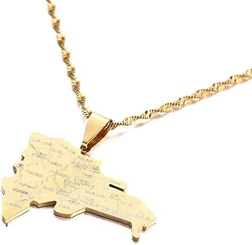 Ahuyongqing Co.,ltd Collar Mapa dominicano de Acero Inoxidable con Collares Pendientes con Nombre de Ciudad Joyería de Cadena de Mapa dominicanos de Moda