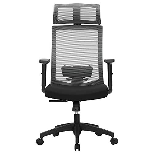 SONGMICS fauteuil de bureau, chaise de bureau en toile, siège ergonomique, pivotant à 360°, support lombaire réglable, appui-tête, accoudoirs, inclinaison du dossier jusqu'à 120°, gris OBN55BG