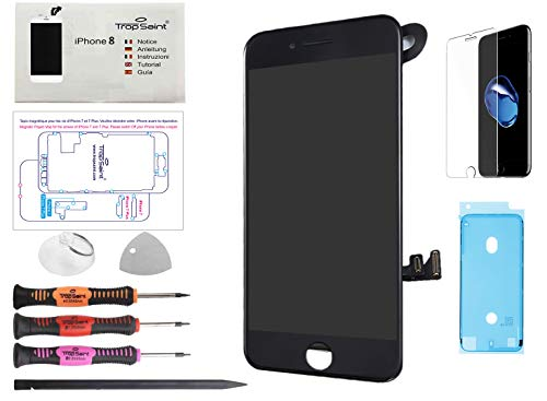 Trop Saint Pantalla Negro para iPhone 8 Completa Premium Kit de reparación LCD con Guía, Herramientas, Film Protector Pantalla y Pegatina Adhesiva Impermeable