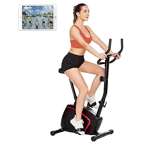 Profun Bicicleta estática vertical con 10 niveles de resistencia, silenciosa y cómoda, bicicleta estática estática para entrenamiento de cardio en casa con asiento ajustable, monitor y ruedas (negro)